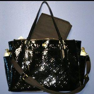 Coach Peyton Black Embossed Leather Diaper Bag!